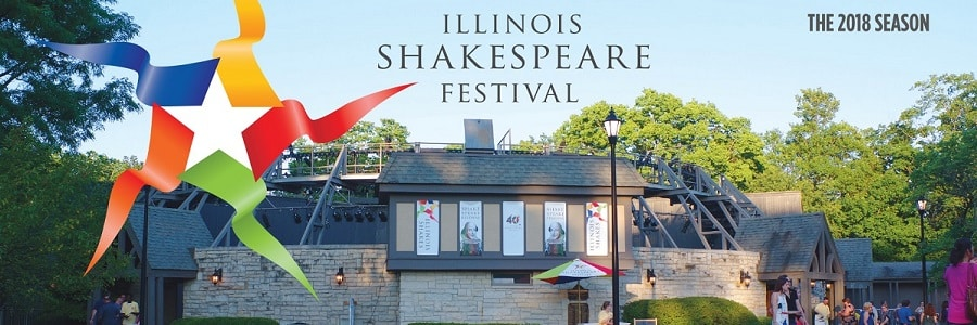 Stone building with Shakespear Festival banners and crowds of people amidst green trees