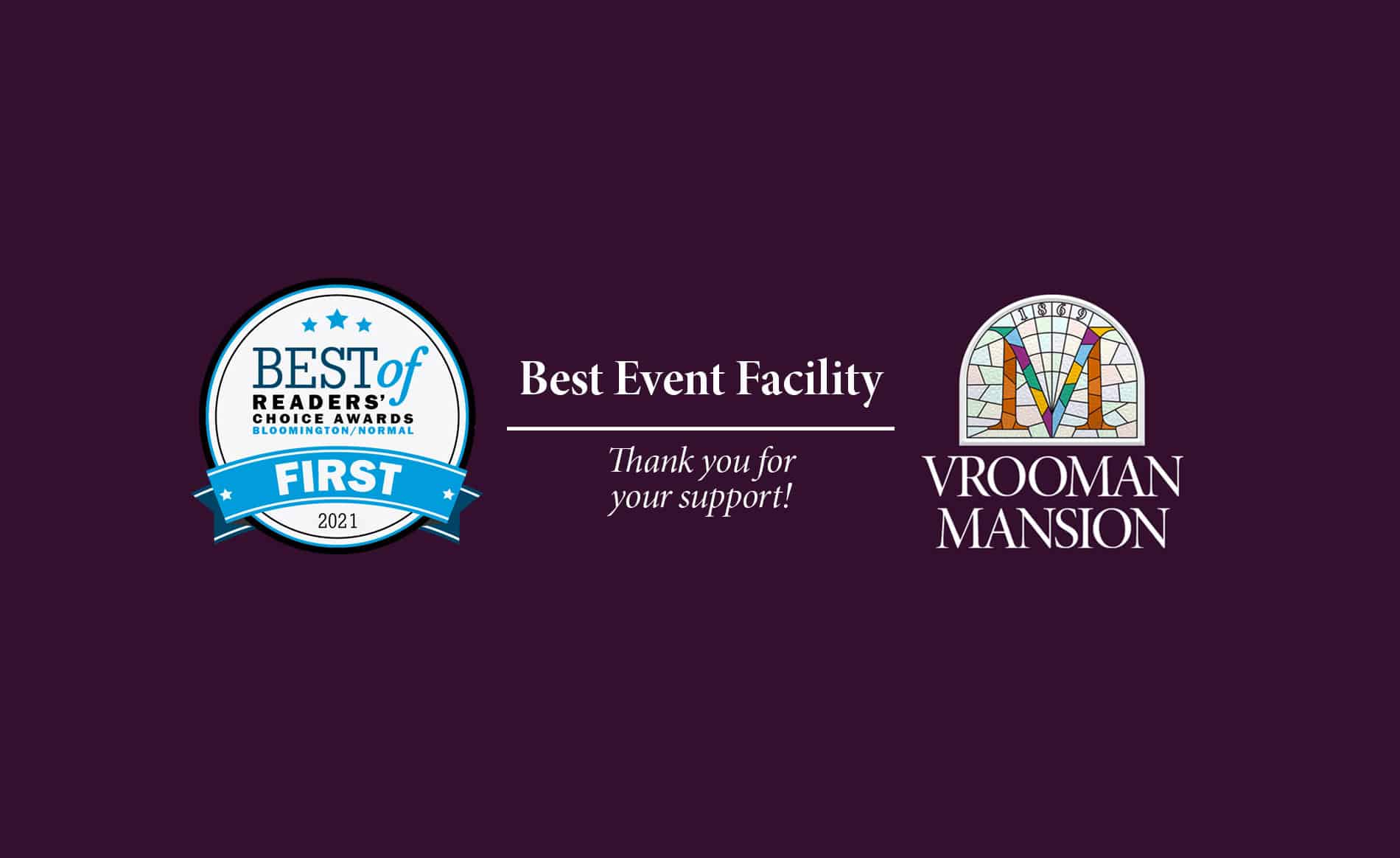 Award Logo in Blue and White for the Best Event Facility in Bloomington Illinois