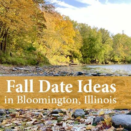 fall leaves along an Illinois river
