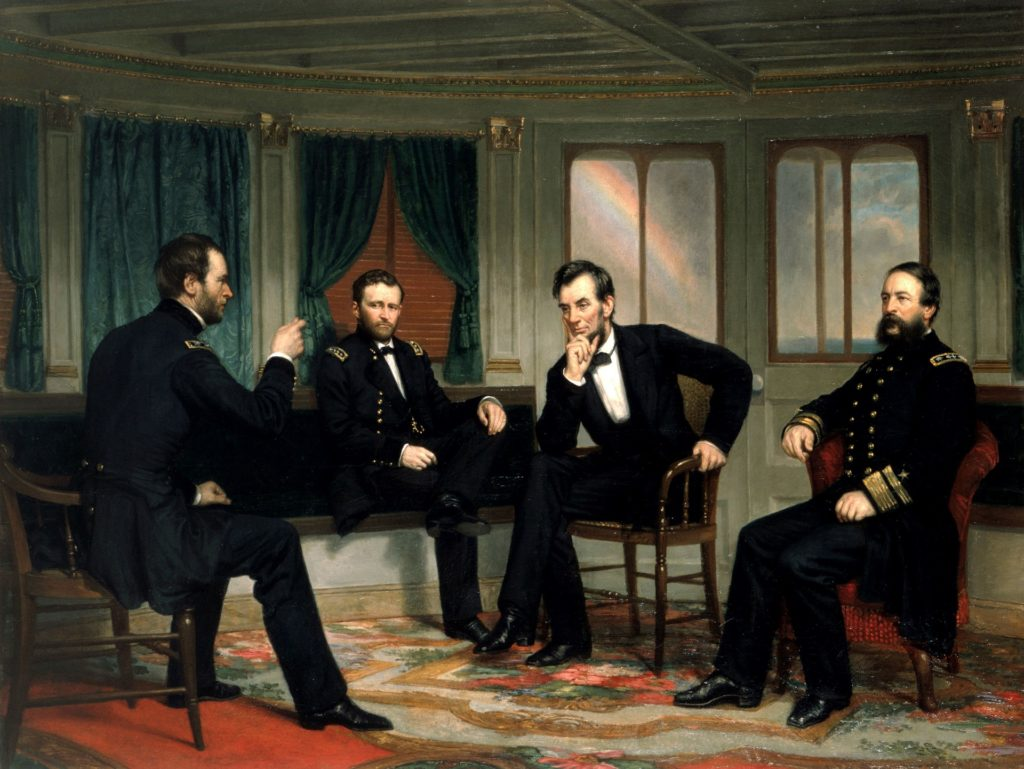 Painting of Abraham Lincoln in ornate room with 3 military men, 2 to his right, 1 to his left.