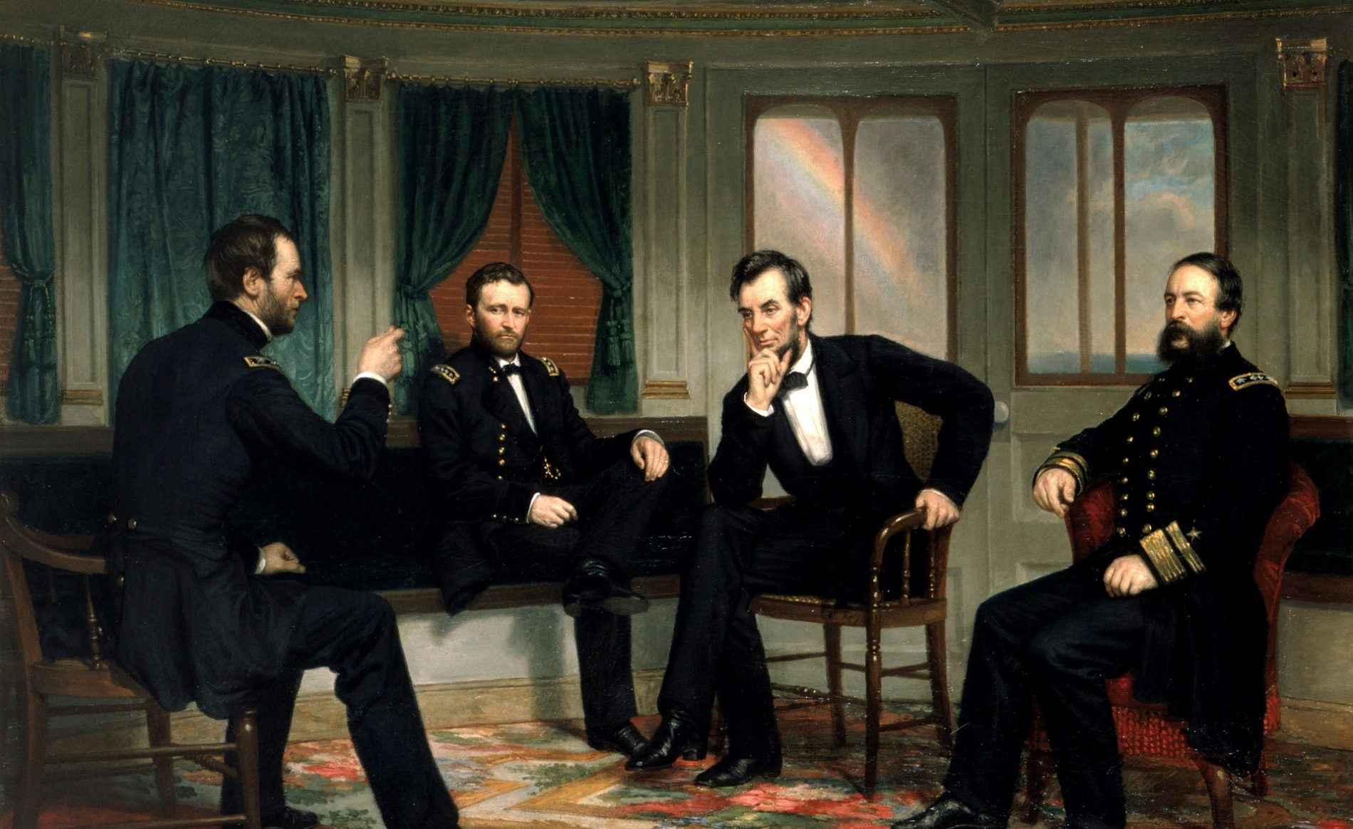 Oil painting, The PeaceMakers by George Healy, circa 1868. Pres. Lincoln with Sherman, Grant, and Porter aboard the River Queen